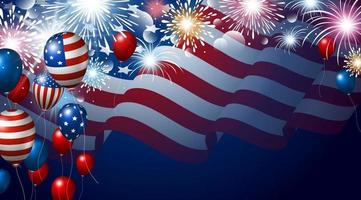 Bandera americana y globos con banner de fuegos artificiales para EE.UU. 4 de julio Ilustración de vector de día de la independencia de EE.UU.