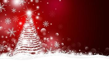 árbol de navidad y luz con diseño bokeh sobre fondo rojo ilustración vectorial