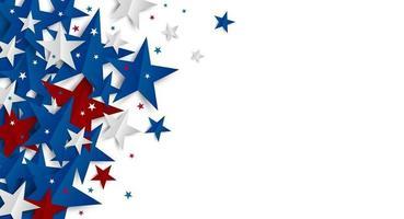 Estrella de papel sobre fondo blanco con copia espacio día de la independencia y banner de vacaciones ilustración vectorial