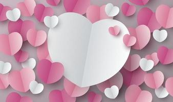 Valentines day background design of paper hearts with copy space vector illustration