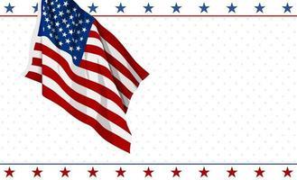 Diseño de la bandera americana sobre fondo blanco 4 de julio Ilustración de vector de banner de día de la independencia de Estados Unidos