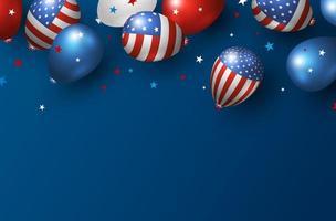 Diseño de banner de vacaciones en América de globos de Estados Unidos sobre fondo azul con ilustración de vector de espacio de copia