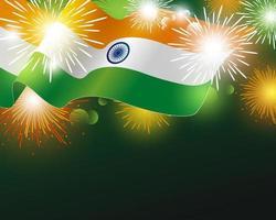 Bandera de la India con ilustración de vector de fondo de fuegos artificiales