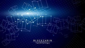 Diseño de tecnología blockchain sobre fondo azul ilustración vectorial