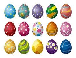 Diseño de huevos de Pascua en la ilustración de vector de fondo blanco
