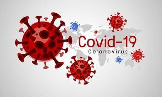 Diseño de coronavirus covid-19 con mapa mundial