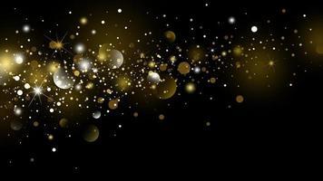 brillo dorado y nieve cayendo con bokeh en el invierno sobre fondo negro para navidad y año nuevo ilustración vectorial