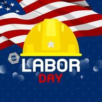 Labor day design of construction hat anf USA flag on blue background vector illustration