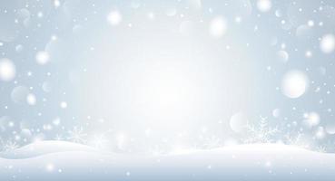 Diseño de concepto de fondo de Navidad de copo de nieve blanco y bokeh en la ilustración de vector de invierno