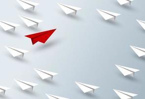 Diseño de concepto de liderazgo de ilustración de vector de avión de papel