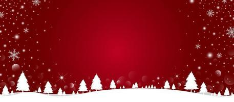 Diseño de fondo de Navidad de pino y copo de nieve con nieve cayendo en la ilustración de vector de invierno