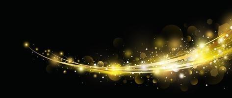 Efecto de luz dorada abstracta con diseño bokeh sobre fondo negro ilustración vectorial