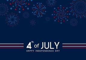 4th of july Happy Independence day design of fireworks on blue background vector illustration