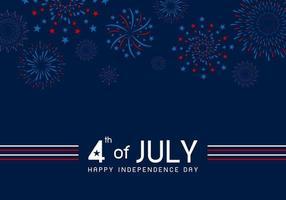 4 de julio feliz día de la independencia diseño de fuegos artificiales sobre fondo azul ilustración vectorial
