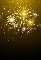 Happy new year design of gold fireworks at night vector illustration
