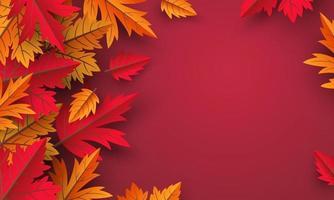 hojas de otoño sobre fondo rojo diseño con copia espacio ilustración vectorial