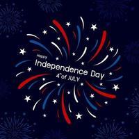 Diseño de fuegos artificiales del 4 de julio feliz día de la independencia ilustración vectorial
