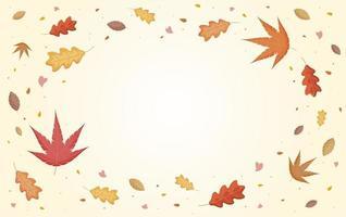 hojas de otoño cayendo con copia espacio ilustración vectorial