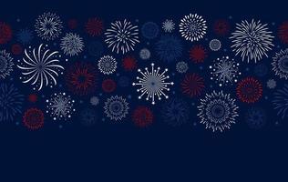 Diseño de fuegos artificiales sobre fondo azul ilustración vectorial