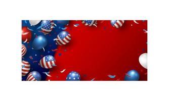 Diseño de fondo de banner de Estados Unidos de globos ilustración vectorial