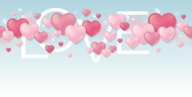 Diseño de tarjeta del día de San Valentín de corazones de color rosa con ilustración de vector de texto de amor