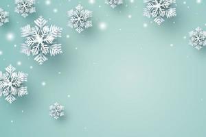 Diseño de fondo de Navidad de copo de nieve y nieve cayendo en el invierno con ilustración de vector de espacio de copia