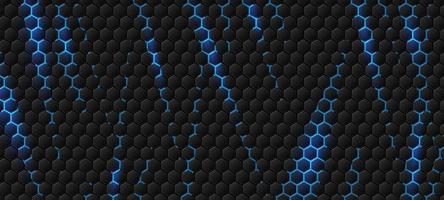 Fondo hexagonal moderno con ilustración de vector de efecto de luz azul