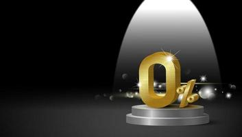Gold metal zero percent on black background with copy space 3D vector illustration