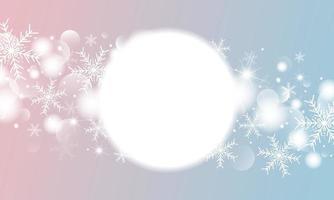 Diseño de banner de Navidad e invierno de copo de nieve con efecto de luces bokeh ilustración vectorial