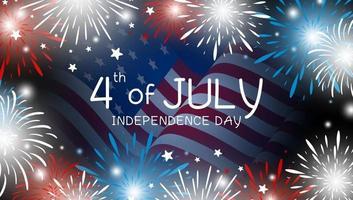 4 de julio diseño del día de la independencia de la bandera americana con ilustración de vector de fuegos artificiales
