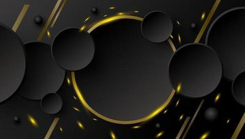 Abstract banner design of circle button and gold line with sparks on black background vector illustration