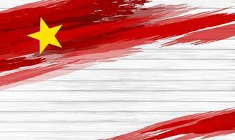 Pincel de bandera de Vietnam sobre fondo de madera blanca ilustración vectorial vector