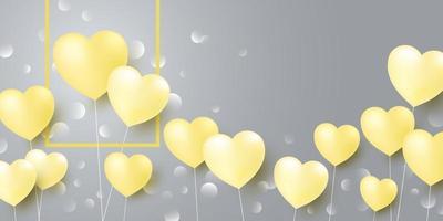 Diseño de concepto de amor de globos de corazón amarillo sobre fondo gris ilustración vectorial