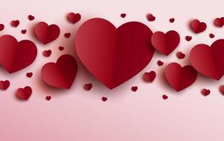 Diseño de tarjeta del día de San Valentín de corazones rojos sobre fondo rosa ilustración vectorial