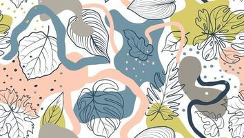Floral seamless pattern with leaves and abstract organic blots over white background