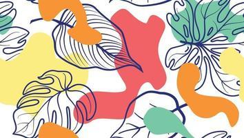 hojas y manchas orgánicas abstractas. patrón floral transparente en estilo de moda. Fondo elegante con puntos y formas florales fluidas.