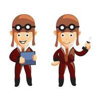 pilot character illustration set vector