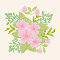 Pink flowers with branches and leaves for nature decoration vector