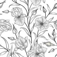 Floral seamless pattern. Flower garden hand-drawn line art background. Floral ornamenal wallpaper vector