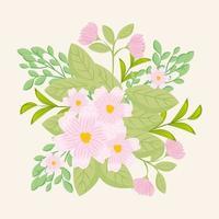 flores rosadas con ramas y hojas para la decoración de la naturaleza