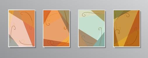 Set of creative minimalist hand drawn vintage neutral color illustrations vector