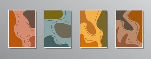 conjunto de ilustraciones en color neutro vintage minimalistas creativas dibujadas a mano, para pared. para tarjeta de regalo, póster en la plantilla de póster de pared, página de destino, ui, ux, coverbook, baner, vector