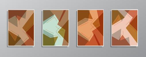 Set of creative minimalist hand drawn vintage neutral color illustrations. vector