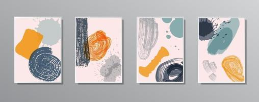 Set of creative minimalist hand drawn vintage neutral color illustrations, for wall vector