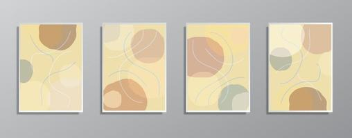 Set of creative minimalist hand drawn vintage neutral color illustrations vector