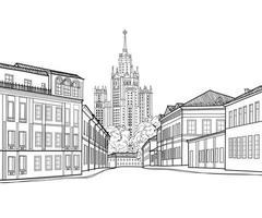 Calle de la ciudad de Moscú con el famoso edificio de rascacielos stalin en segundo plano. vector