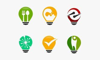 Set of idea design templates, including food, water, and check mark vector