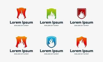 conjunto de diseños de iconos de escudo de fuego vector