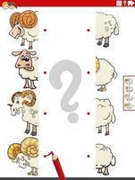 Emparejar mitades de imágenes con juego educativo de ovejas. vector
