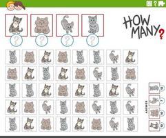 cuántos gatos de dibujos animados personajes animales juego de conteo vector